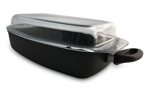 Fischpfanne-Kasserolle 33x22 cm inkl. Glasdeckel Aluminium Guss Antihaft INDUKTION